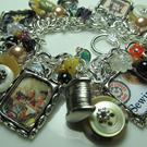 Art: Vintage Sewing Altered Art Charm Bracelet by Artist Lisa  Wiktorek