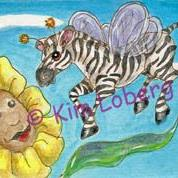 Art: Zebra Fly-Coming in for a Landing SOLD by Artist Kim Loberg
