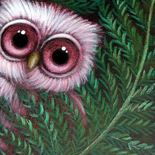 Art: PINK BABY OWL BEHIND THE FERNS by Artist Cyra R. Cancel