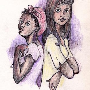 Art: Celie and Shug by Artist Muriel Areno