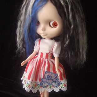 Art: Spooky Girl Custom Blythe Doll by Artist Noelle Hunt