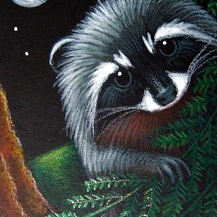 Art: BABY RACCOON BEHIND THE FERNS by Artist Cyra R. Cancel