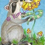 Art: 'May I Have This Dance?' Raccoon & Raccoon Flower SOLD by Artist Kim Loberg