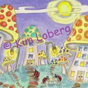 Art: Lady Bug Town at Night by Artist Kim Loberg