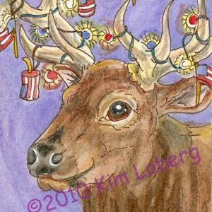 Art: Red, White and Blue Elk by Artist Kim Loberg