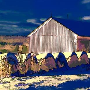 Art: Barn with Hay by Artist Carolyn Schiffhouer