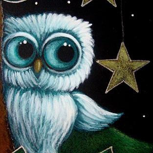 Art: BABY OWL AND THE HANGING STARS by Artist Cyra R. Cancel
