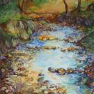 Art: CREEK BED LANDSCAPE in PASTEL by Artist Marcia Baldwin