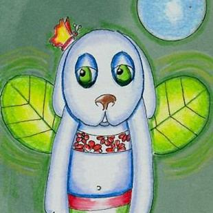 Art: Puppy Flying Dream by Artist Sherry Key