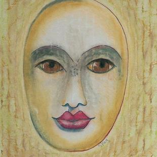 Art: Mixed Media Mask on Cardboard by Artist Sherry Key