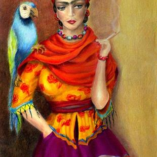 Art: Selma Hayek as Frida by Artist Alma Lee