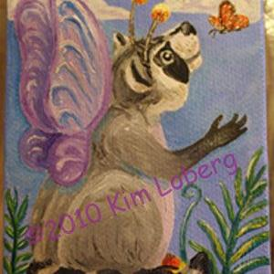 Art: Raccoon Fairy and Butterfly SOLD by Artist Kim Loberg