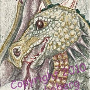 Art: Tinted Graphite Dragon-SOLD by Artist Kim Loberg