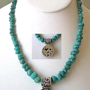 Art: Turquoise  Necklace with reversible pendant by Artist Ulrike 'Ricky' Martin