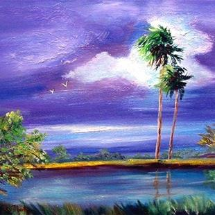 Art: Florida Palm Trees - sold by Artist Ulrike 'Ricky' Martin