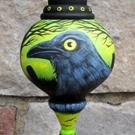 Art: Crow in the Graveyard Original Large Halloween Ornament by Artist Lisa M. Nelson