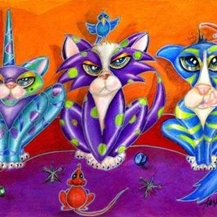Art: Kitty Line Up, the Usual Suspects by Artist Alma Lee