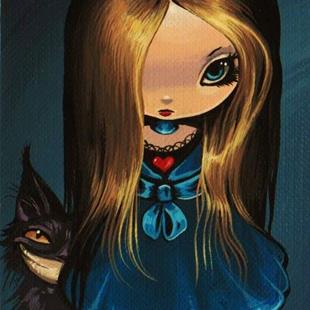 Art: Darkly Alice and Cat by Artist Nico Niemi