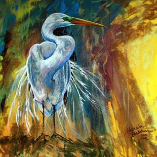 Art: GREAT WHITE HERON in PASTEL ABSTRACT by Artist Marcia Baldwin
