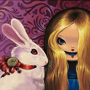 Art: White Rabbit and Alice by Artist Nico Niemi