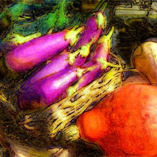 Art: Eggplants and Squash by Artist Deanne Flouton