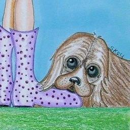 Art: ACEO-Puppy Love-Sold by Artist Sherry Key