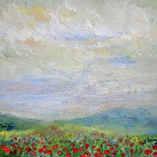 Art: Poppy field by Artist John Wright