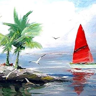 Art: The Red Sail - sold by Artist Ulrike 'Ricky' Martin