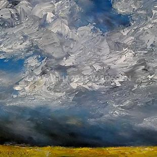 Art: Bright Yellow Field & Thunderstorm by Artist Windi Rosson