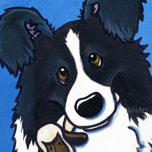 Art: Border Collie Lamb Lover by Artist KiniArt
