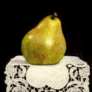 Art: Pear on Lace Sm.jpg by Artist Sandra Willard