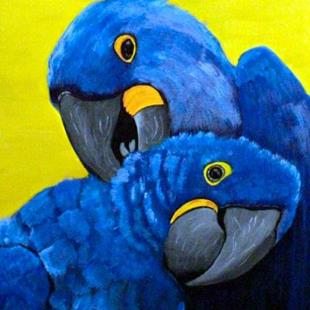 Art: Hyacinth Macaws by Artist Dia Spriggs