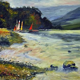 Art: Boats on Ulswater by Artist John Wright