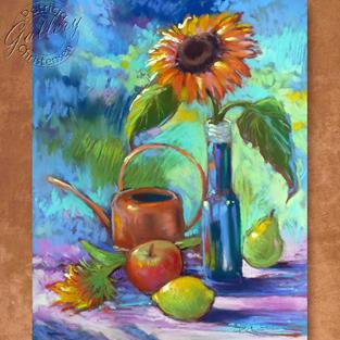 Art: Sunflower with the Blues by Artist Patricia  Lee Christensen