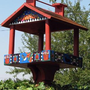 Art: Whimsy Bird Feed House by Artist Melinda Dalke