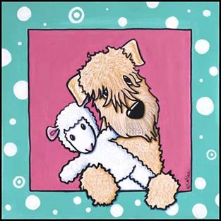 Art: Wheaten Terrier Lamb Lover by Artist KiniArt