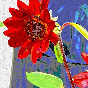 Art: Red petal sunflower by Artist Joan Hall Johnston
