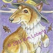 Art: Collie Pup Halloween Witch - SOLD by Artist Kim Loberg