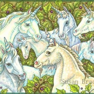 Art: WHEN UNICORNS GATHER by Artist Susan Brack