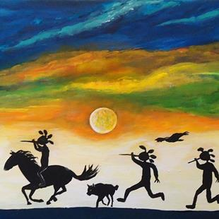 Art: Sunset Gathering by Artist Kathy Hatt