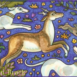 Art: STAG AND HOUND by Artist Susan Brack