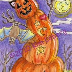 Art: Stacked Cat O Lantern's Pet Bat, George by Artist Kim Loberg