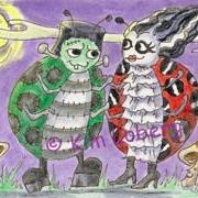 Art: Frank & His Bride at the LadyBug Monster Mash Ball - SOLD by Artist Kim Loberg
