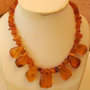 Art: Golden Amber Necklace - sold by Artist Ulrike 'Ricky' Martin