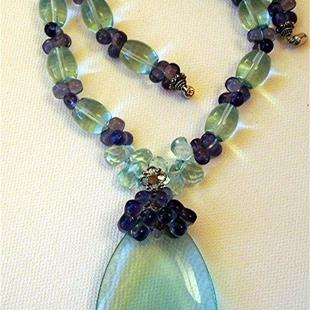 Art: Blue Quartz and Amethyst Necklace and Pendant by Artist Ulrike 'Ricky' Martin