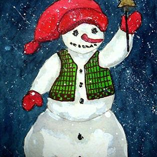 Art: Snowman with star by Artist Ulrike 'Ricky' Martin