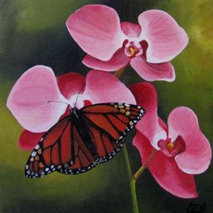 Art: Orchids and Monarch Butterfly by Artist Christine E. S. Code ~CES~