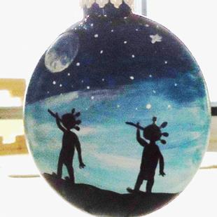 Art: Kokopelli Glass Ornament by Artist Kathy Hatt