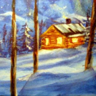 Art: Winter Night (sold) by Artist Kathy Crawshay