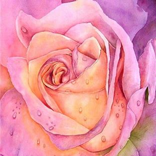 Art: Pink Rose with Raindrops by Artist Ulrike 'Ricky' Martin